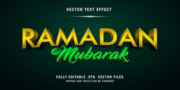 Ramadan mubarak textstil-effekt vollständig bearbeitbar