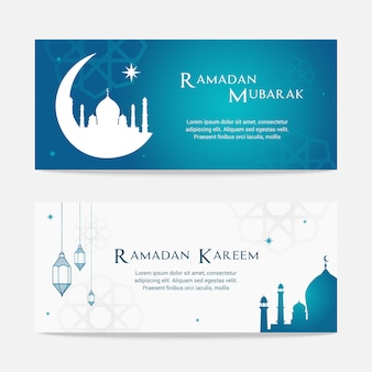 Ramadan mubarak und ramadan kareem fahnensatz