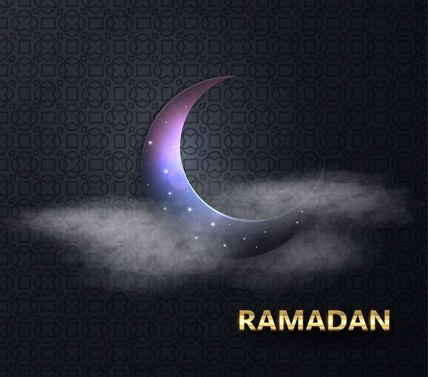 Ramadan muslimisches fest des heiligen monats. vollmondnacht. raum vektor-illustration. ramadan kareem