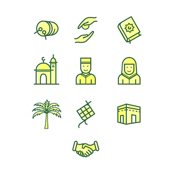 Ramadan musselin icon-set