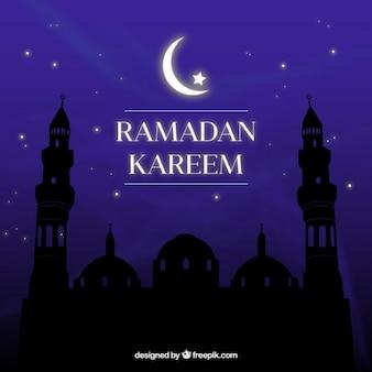Ramadan-nacht-hintergrund mit moschee silhouette