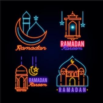 Ramadan neonschild sammlung konzept