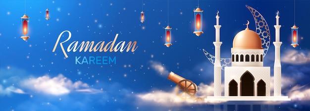 Ramadan realistische zusammensetzung mit bild der moschee mit hängenden laternen