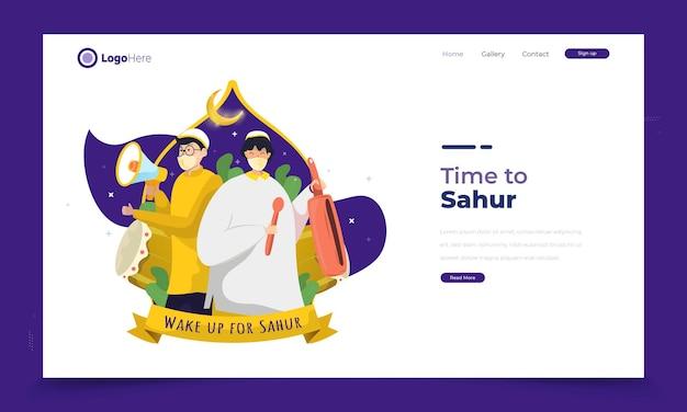 Ramadan sahur anrufer illustrationskonzept