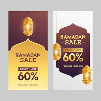 Ramadan sale banner set mit hängenden goldenen laternen illustrationen.