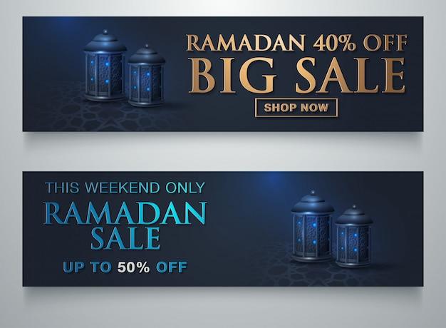 Ramadan sale islamische ornament laterne mond banner vorlage