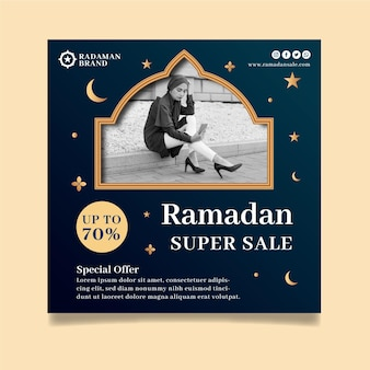 Ramadan sale square flyer vorlage
