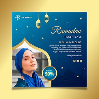 Ramadan sale square flyer vorlage