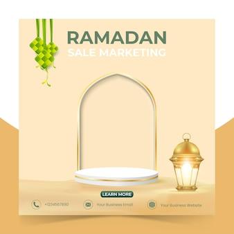 Ramadan sales banner advert mit bearbeitbaren ramadan social media vorlagen auf dem podium