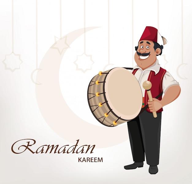 Ramadan-schlagzeuger. fröhliche zeichentrickfigur