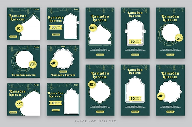 Ramadan stories und post social media template bundle