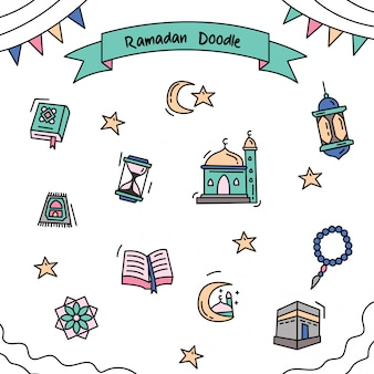 Ramadan umrissfarbe gekritzel