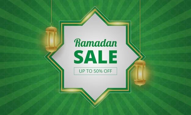Ramadan verkaufsbanner mit grüner und goldener farbe