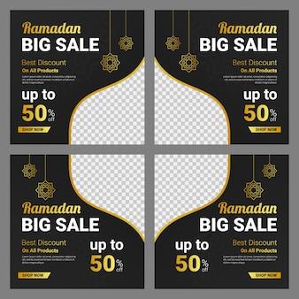 Ramadan-verkaufsfahnenschablone auf dunklem hintergrund
