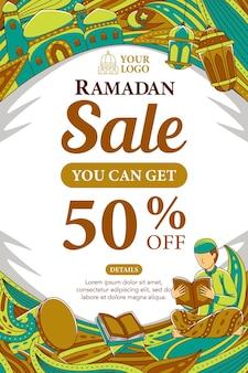 Ramadan-verkaufsplakat im flachen designstil