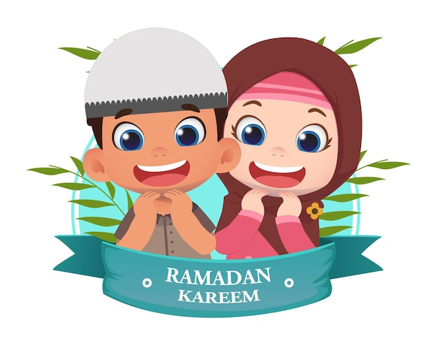 Ramadhan designillustration mit niedlichen kindercharakteren