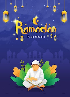 Ramadhan kareem grußkarte mit kind, das koran liest