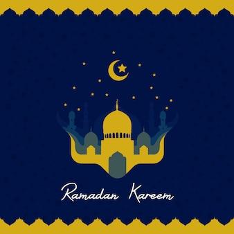 Ramadhan kareem grußkarte mit moschee