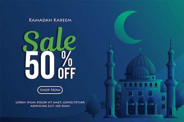 Ramadhan-verkäufe werden mit einem rabatt von 50% auf poster oder banner mit moschee und modernem hintergrund fällig.