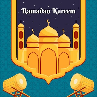 Ramdan kareem design mit moschee illustration