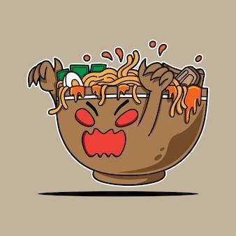 Ramen bowl monster charakter für das gruselige event