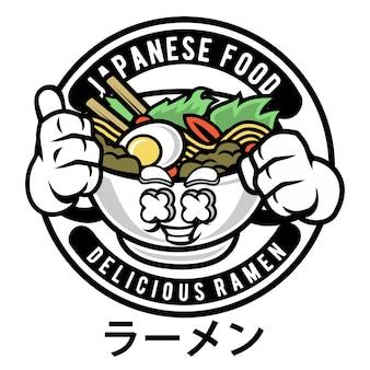 Ramen-logo-maskottchen-karikatur