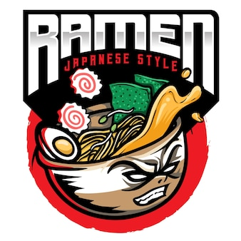 Ramen-nudeln japanisches essen logo illustration