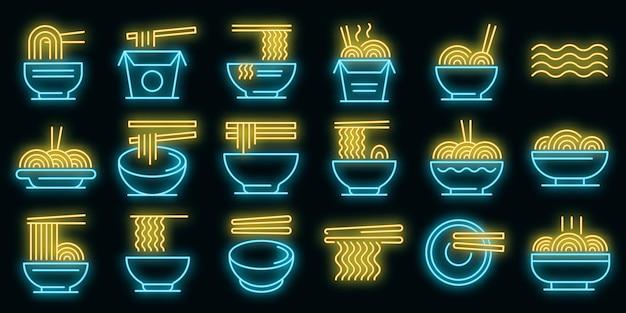 Ramen-symbole gesetzt. umrisse von ramen-vektorsymbolen neonfarbe auf schwarz