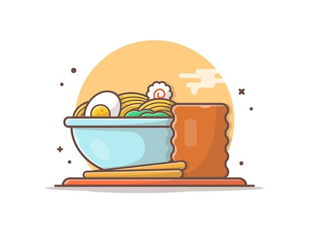 Ramenschüssel mit gekochtem ei und heißem getränk