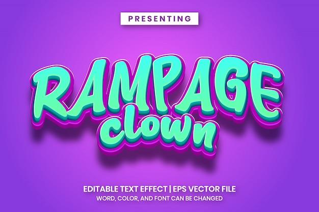 Rampage clown cartoon spiel logo stil bearbeitbaren texteffekt