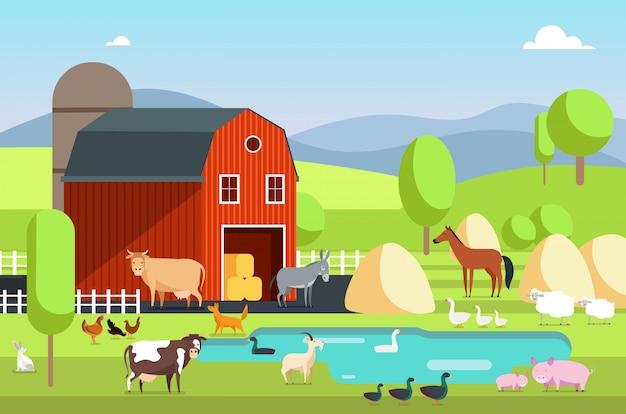 Ranchhaus, wirtschaftsgebäude und landwirtschaftliche tiere in der ländlichen landschaft. eco bauernhof vektor flachen hintergrund