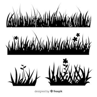 Rand des schwarzen grases silhouettiert ansammlung