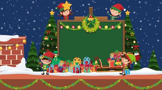 Randschablone mit weihnachtself und -geschenken