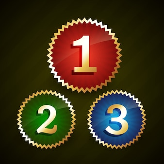 Rang eins zwei drei mit goldgrenzen