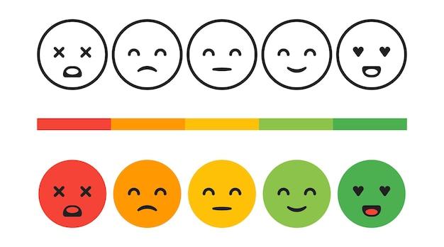 Rang, grad der zufriedenheitsbewertung. feedback-emotionen, smileys, vektorkonzeptillustration. benutzererfahrung. bewertung des verbrauchers