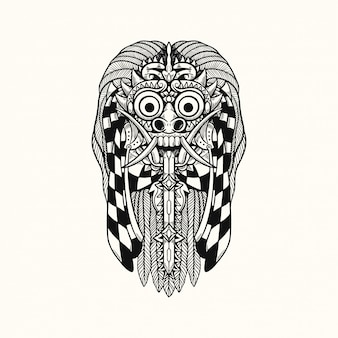 Rangda barong bali indonesien t-shirt design illustration