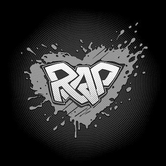 Rap graffiti. grunge splash in form von herz. verbundene buchstaben aus einem streifen mit halbtonpunkten. cooles ausdrucksstarkes symbol der liebe zum hip hop-musikstil.