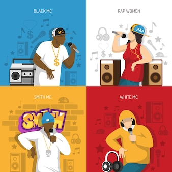 Rap musik populäre sänger illustrationen gesetzt