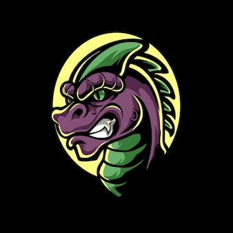 Raptor head e sport maskottchen logo