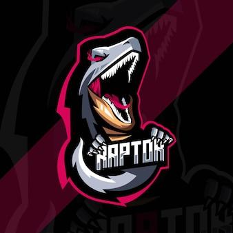 Raptor saurus maskottchen logo vorlagendesign
