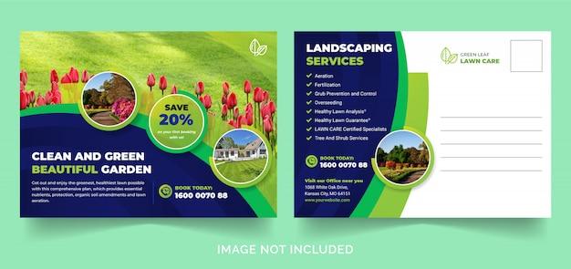 Rasen- oder landschaftsgestaltungsdienst postkarte oder eddm-postkarte