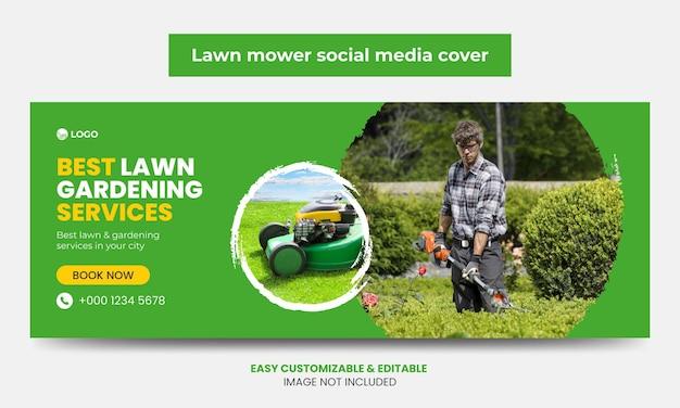 Rasenmäher promotion facebook cover foto design vorlage mähservice social media cover