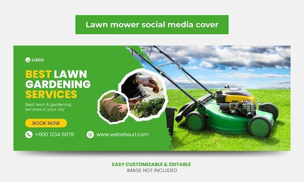 Rasenmäher promotion facebook cover foto design vorlage mähservice social media timeline cover