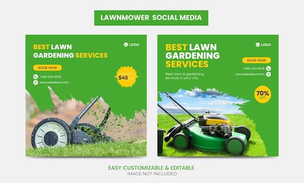 Rasenmäher promotion social media facebook instagram post banner design template set