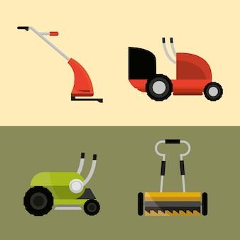 Rasenmäher werkzeugmaschinen verschiedene arten symbole abbildung