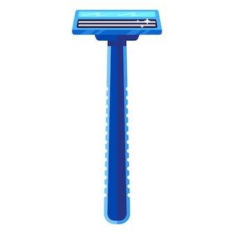 Rasierapparat für blaues rasiermesser. flache vektorillustration.