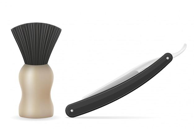 Rasiermesser- und rasierpinselvektorillustration