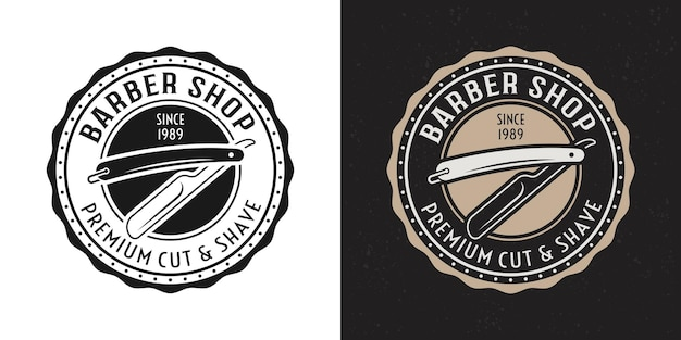 Rasiermesser vektor zwei stil schwarz und farbige vintage runde abzeichen, emblem, etikett oder logo für friseursalon auf weißem und dunklem hintergrund