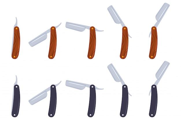 Rasiermesser-vektorkarikaturikonen des friseurs stellten lokalisiert auf weißem hintergrund ein.