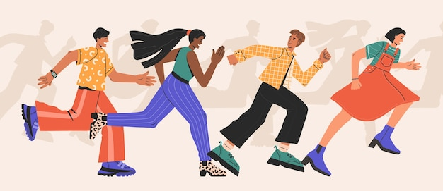 Rassen von mann und frau, eine gruppe von menschen, die schnell rennen. diskriminierung aus geschäftlichen gründen. hand gezeichnete illustration im flachen karikaturstil, lokalisiert.
